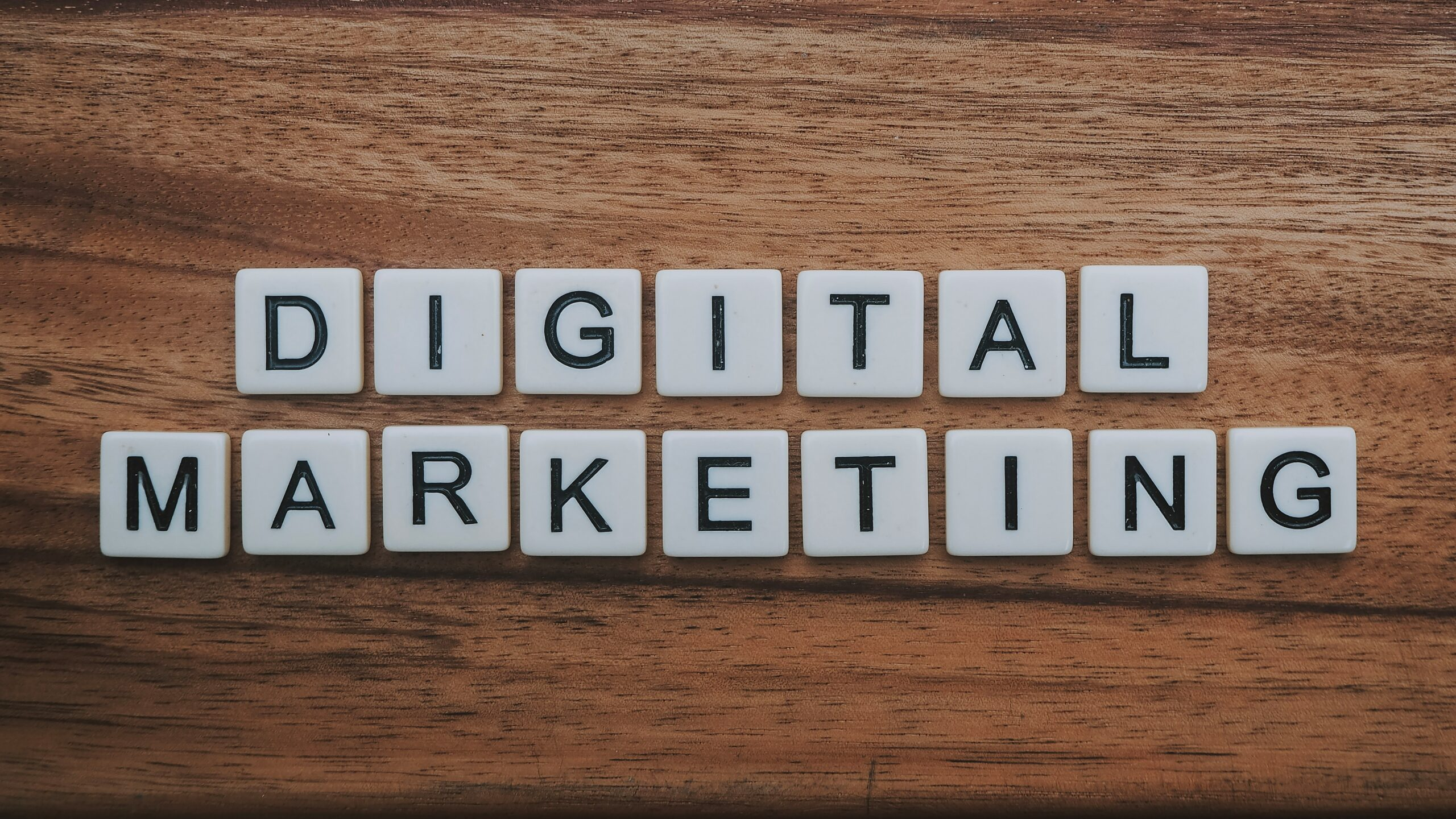 Digital Marketing written out with Scrabble tiles