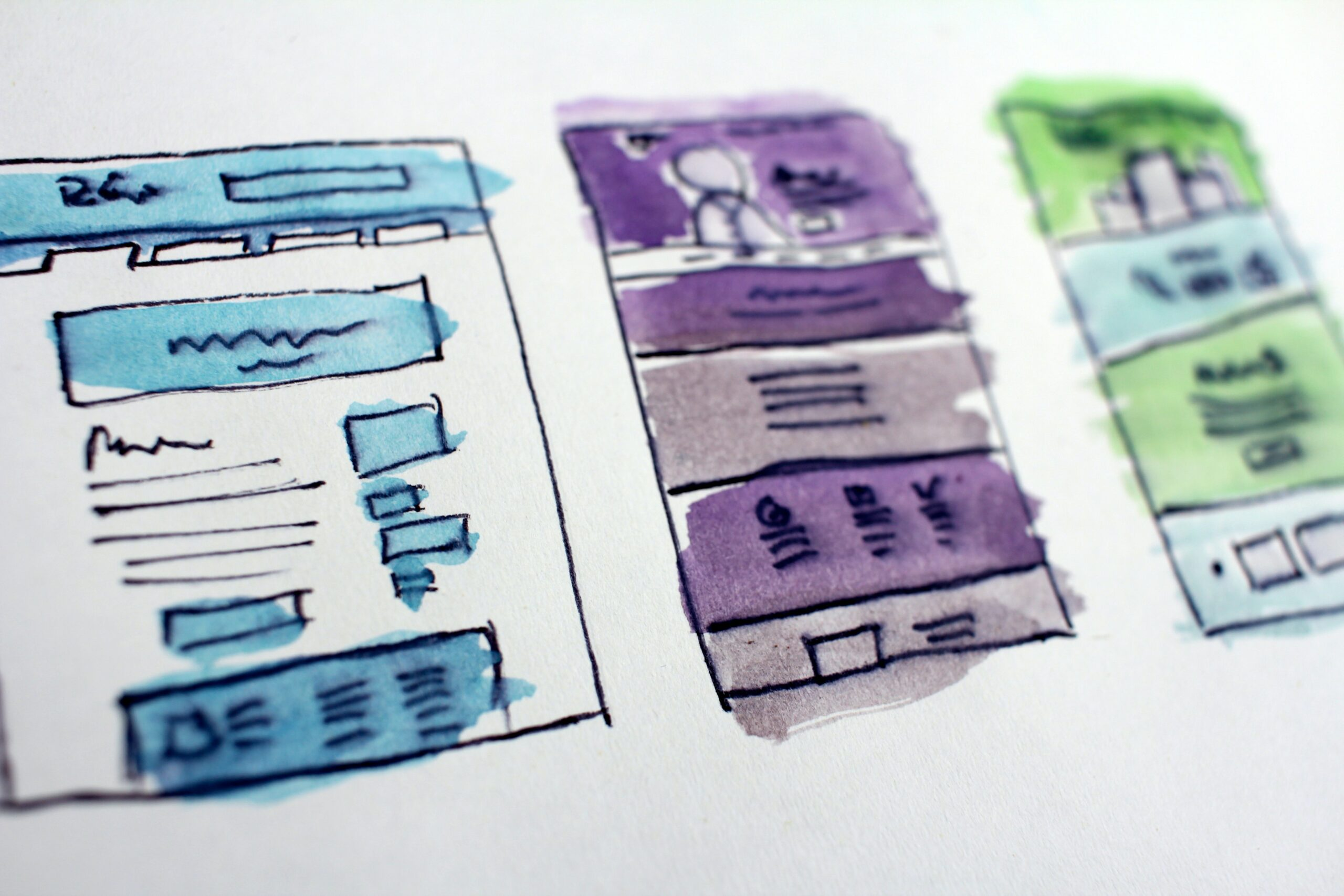 Colorful Storyboard showing drawings of website pages